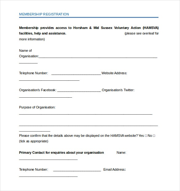 ngo membership application form template