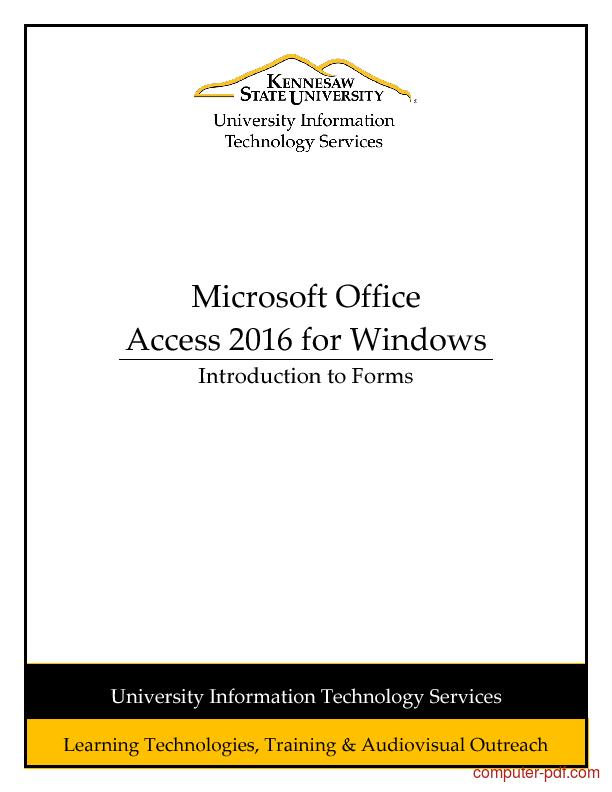 microsoft access 2016 tutorial pdf
