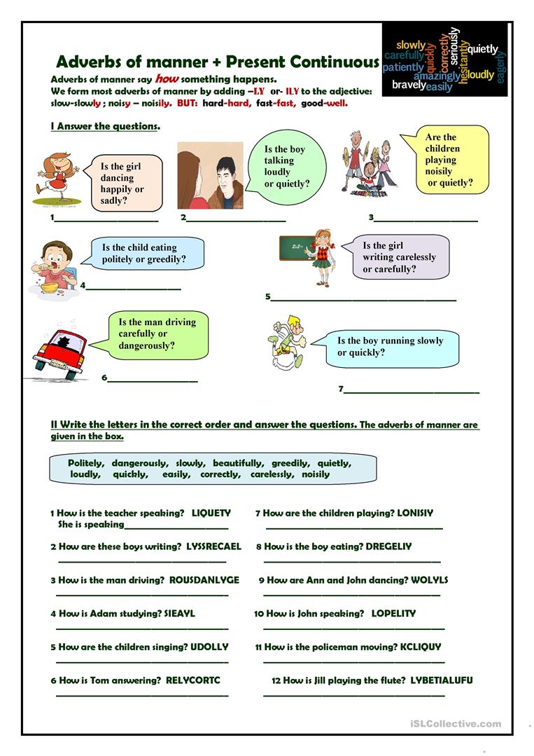 adverb of manner worksheet pdf