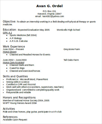 physical therapist cv sample pdf