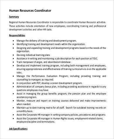 hr coordinator job description pdf