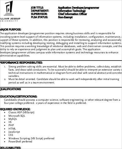 description samples about an application