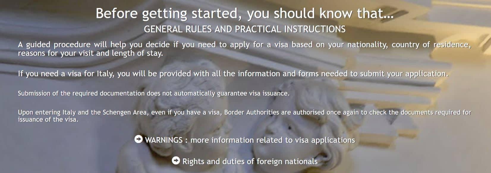 italian embassy visa application online
