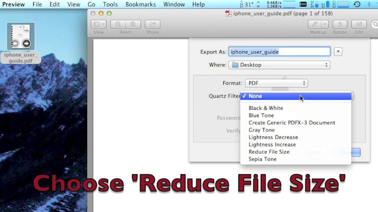 how to reduce size of a pdf document on mac
