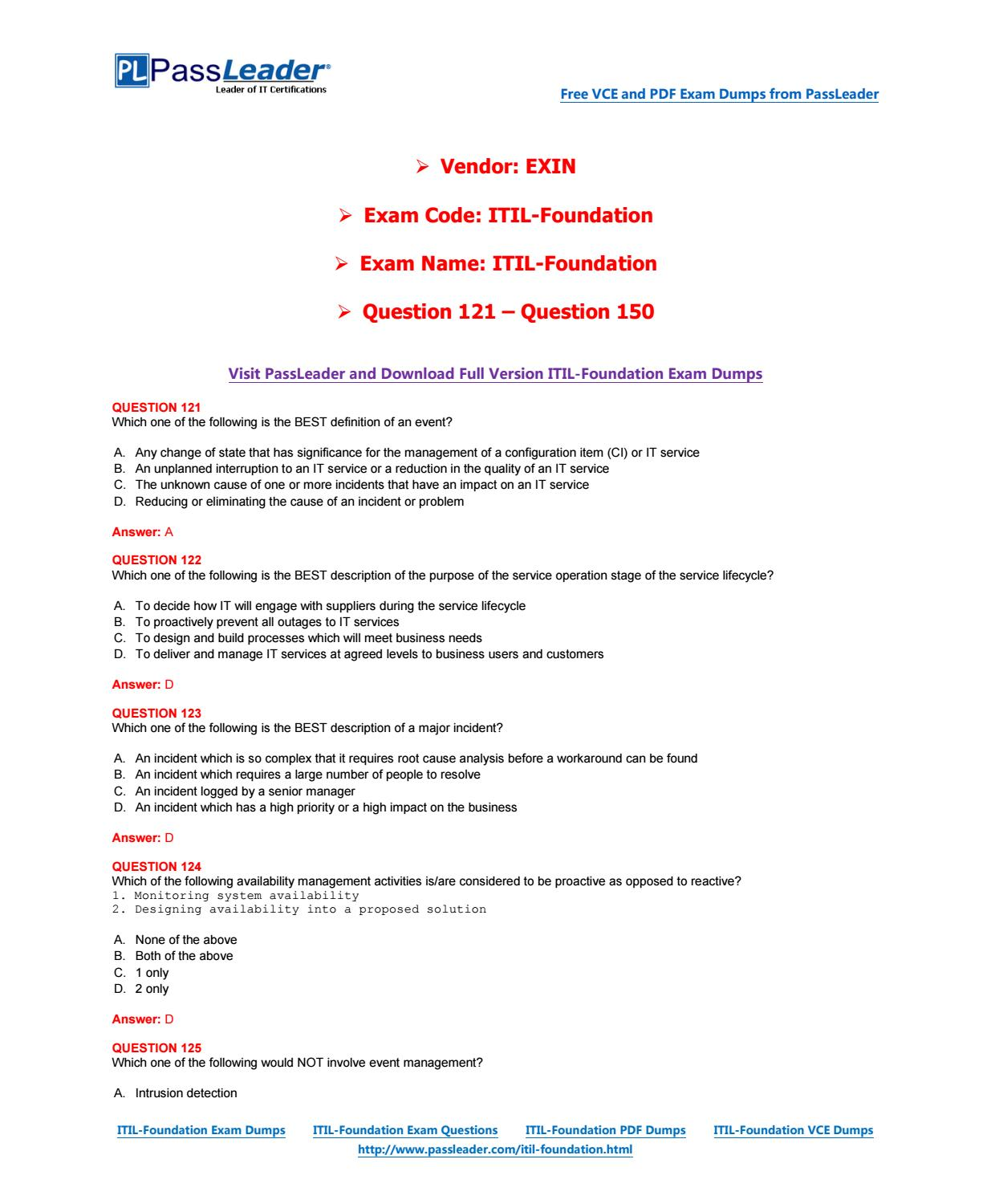 itil foundation exam questions and answers 2018 pdf