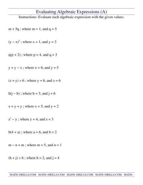 algebraic terms and algebraic expressions