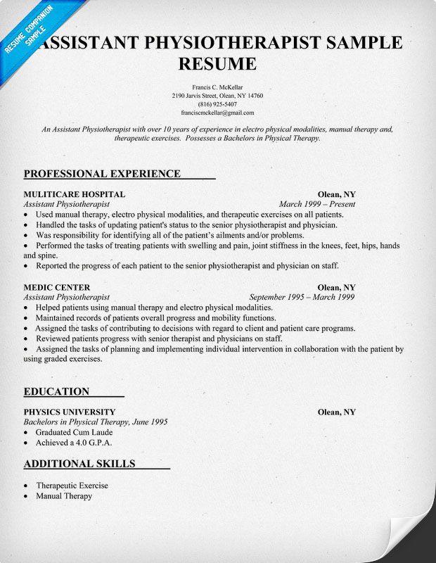 physical therapist cv sample pdf