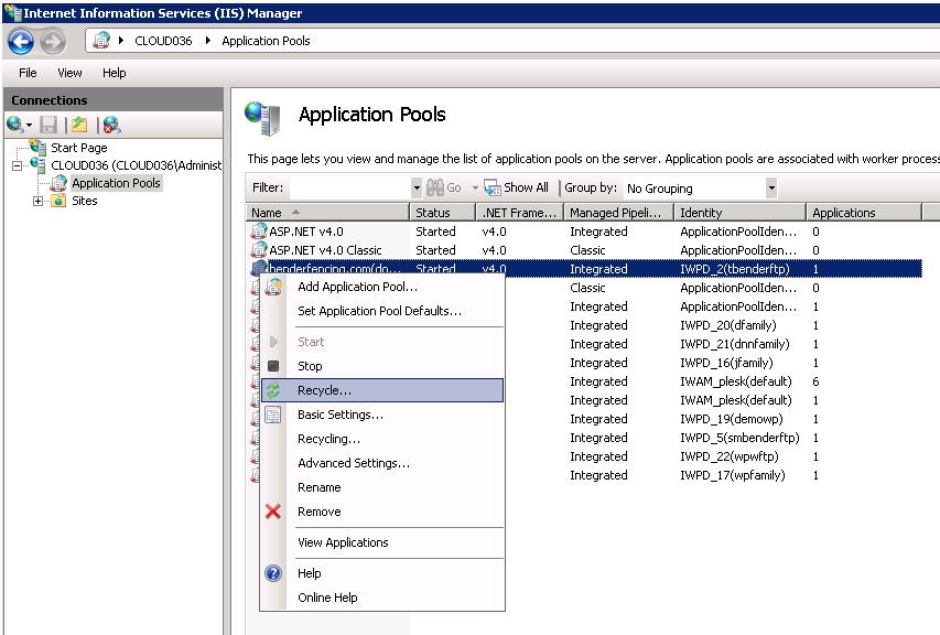 how do i automatically restart application pool in iis