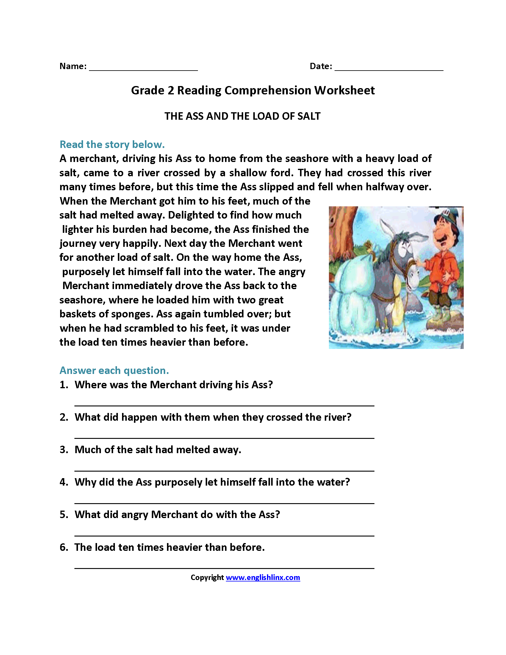 reading comprehension grade 6 worksheets pdf