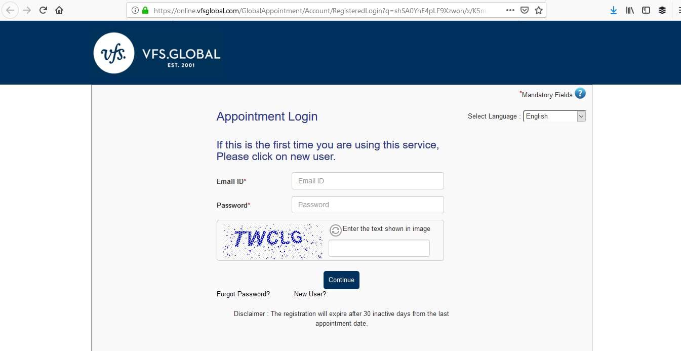 reserve an appointment visa application