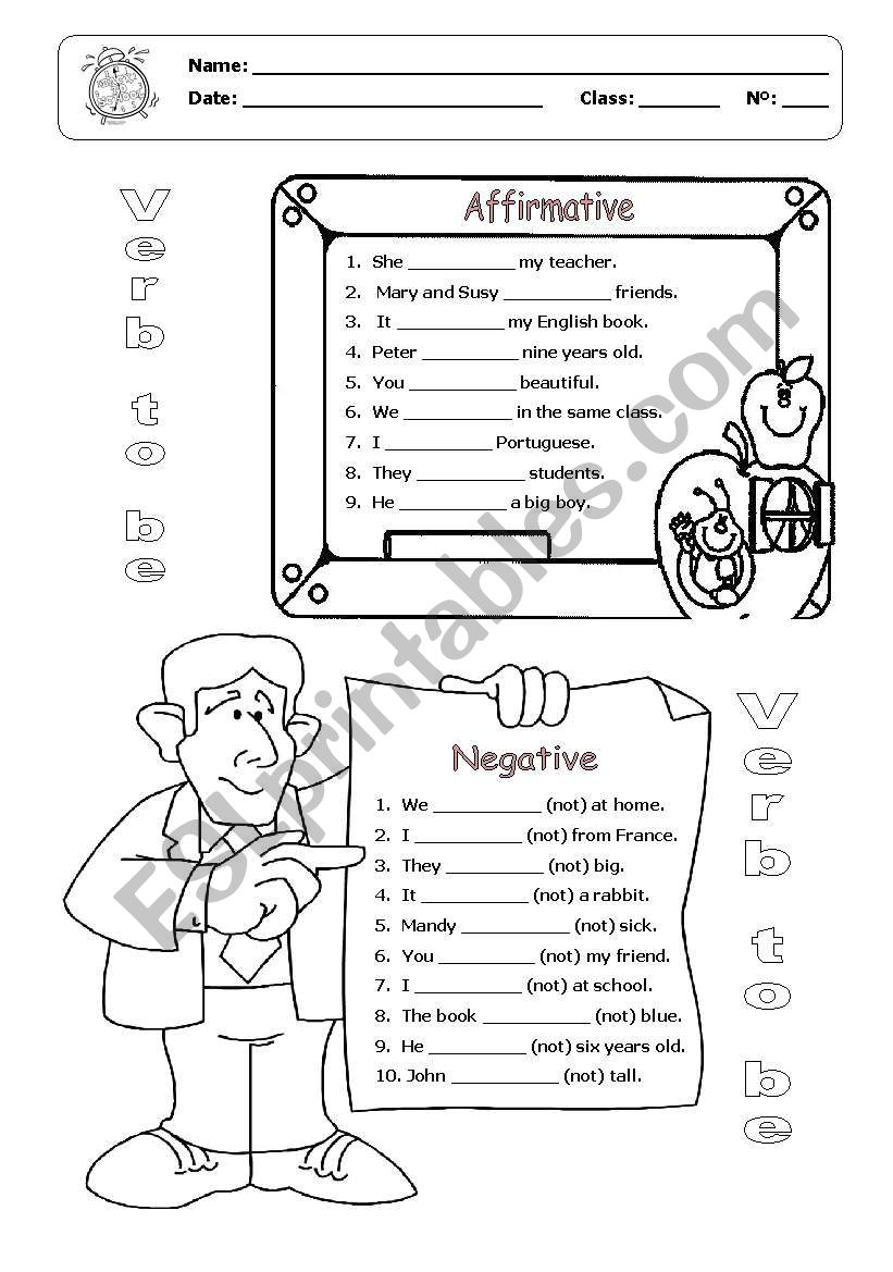 verb to be affirmative form exercises pdf